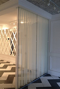 Glass Door with zig-zag flooring