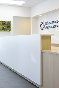 White glossy desk at reception area