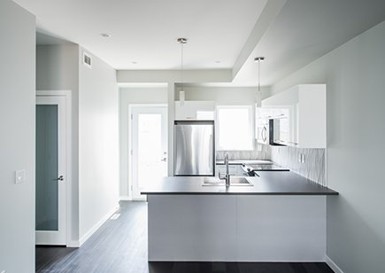 White walls and kitchen