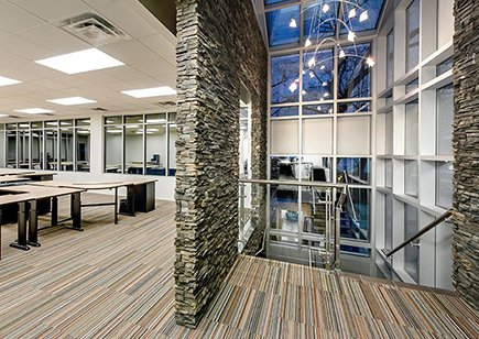 Stone wall with desks